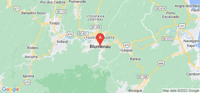 map of Blumenau, Brazil